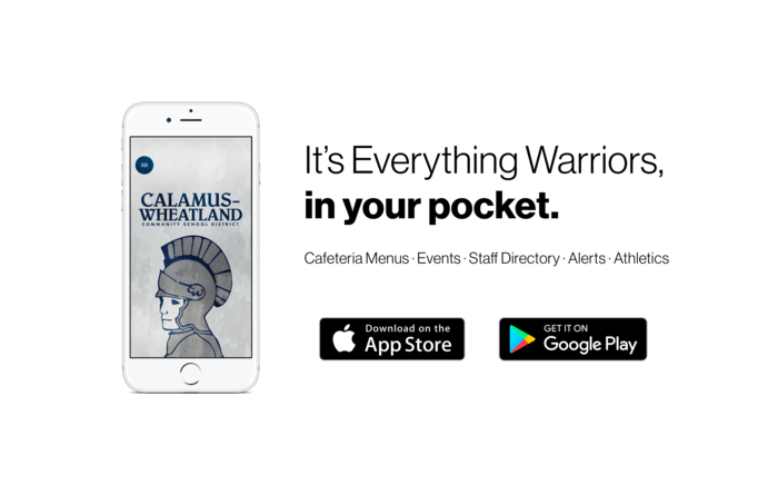 It's Everything Warriors, in your pocket. Cafeteria menus, events, staff Directory, alerts