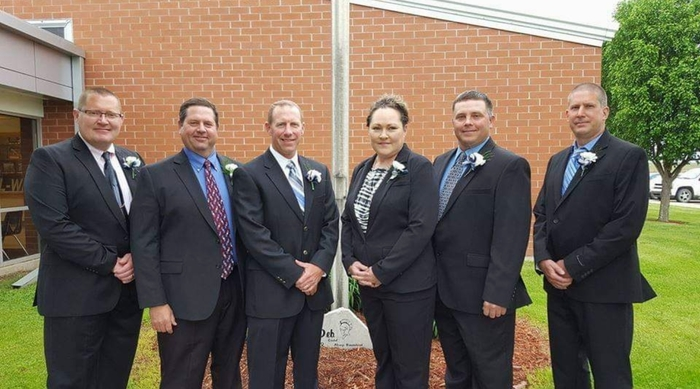 school board members Scott, Larry, Jamie, Carena, Blaine, Jay, absent Tyler