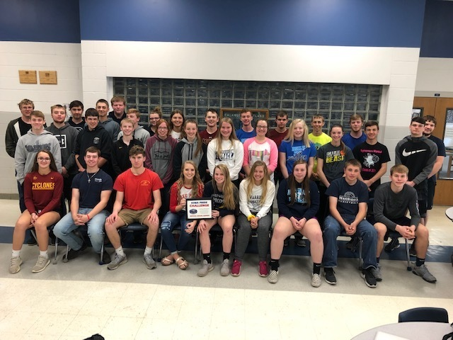 2018-19 HS student council and boys/girls basketball team members won Iowa Pride Challenge