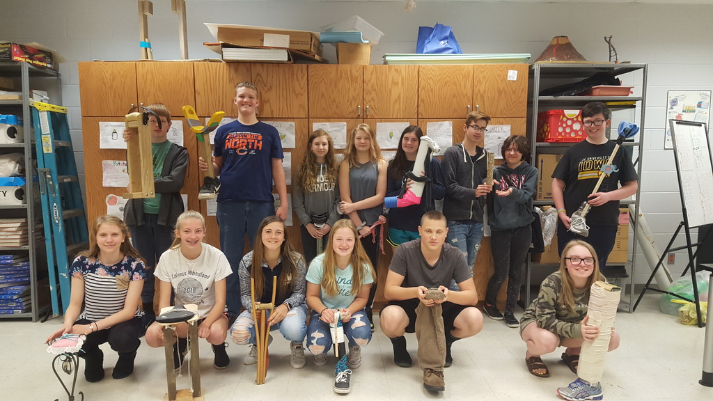 8th grade science students prosthetic used their engineering skills to design and build a prothetic leg after learning about the skeletal and muscular systems in class.
