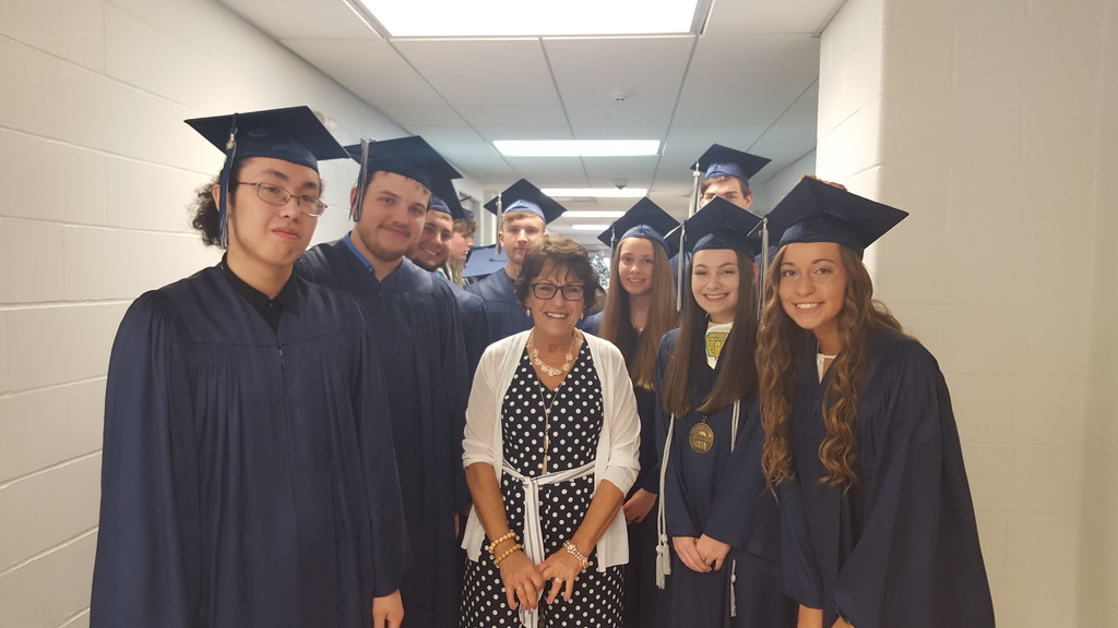 Graduates Class of 2019 with Mrs. Meyer
