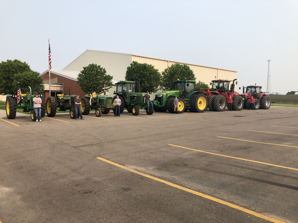 students drover their farm tractors to school today