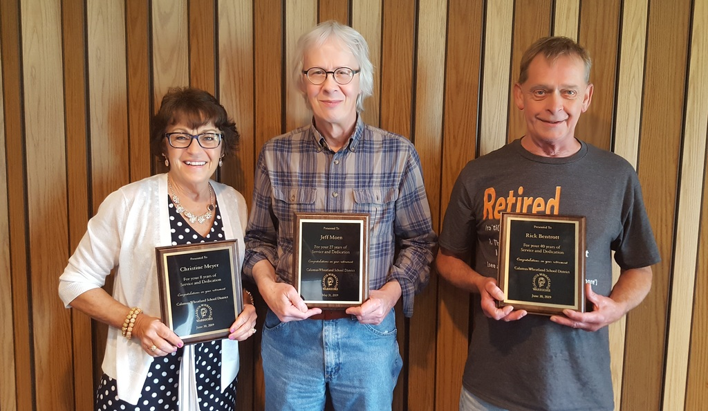 Service awards for retiring staff members Chris Meyer, jeff Moen and Rick Bentrott