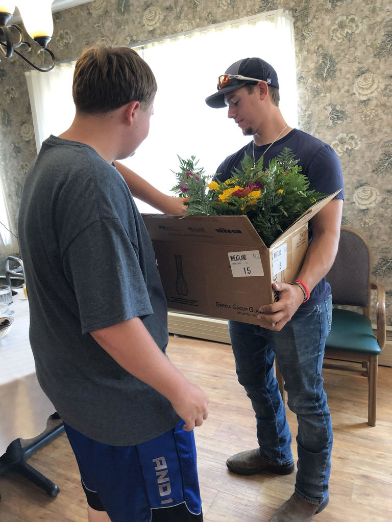 NHS members delivering flowers