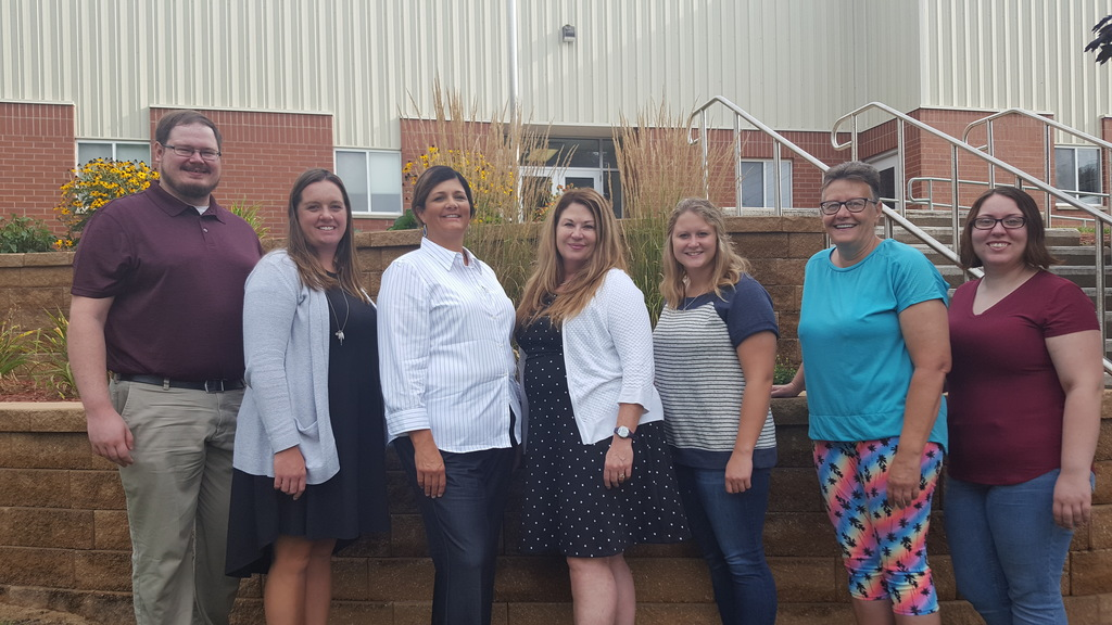 2019-20 new faculty - Mr. Ethan LeBeau (Secondary School Counselor), Mrs. Ashley Kelting (Elementary Principal), Mrs. Jami Stutting (JH English/Language Arts), Mrs. Sue O'Donnell (JH/HS Principal), Ms. Blair Bodkins (Ag Education), Mrs. Rhonda Roling (elementary associate), Ms. Ally Ziegenfuss (elementary vocal/band)
