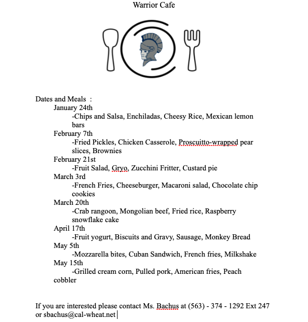 Community Cafe Meals Jan 24 - May 15th