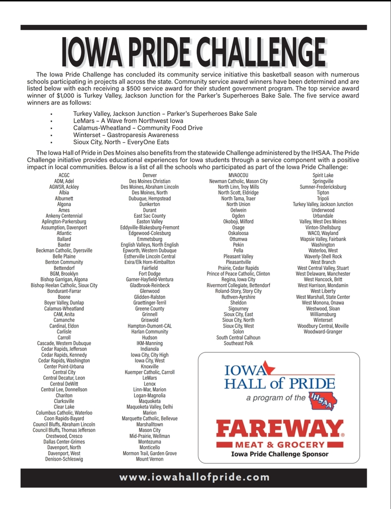 Iowa pride challenge winners & participating schools