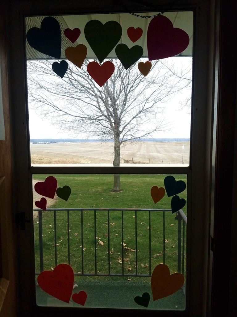 window with hearts