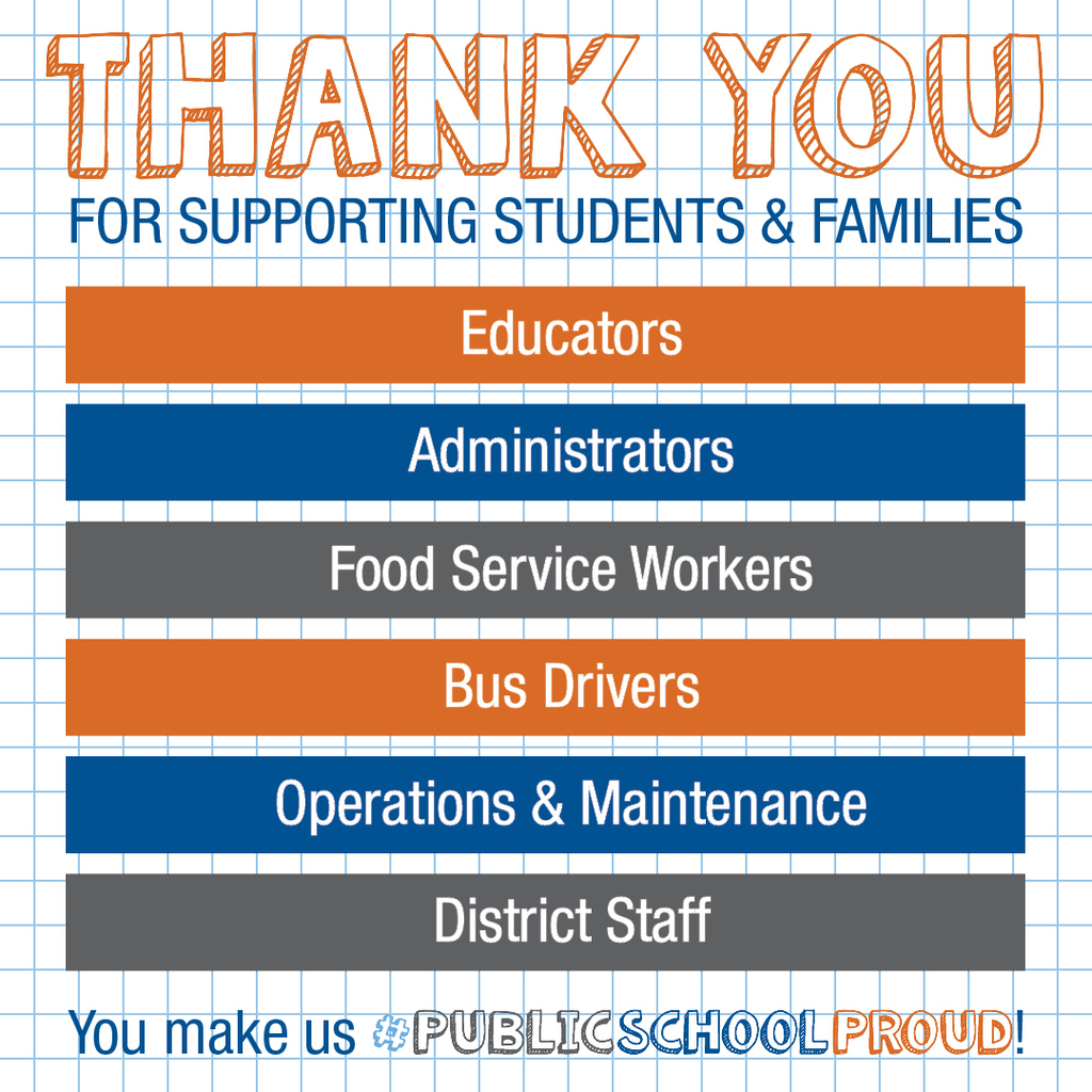 Thank you for supporting students & families Educators Administrators Food Service Workers, Bus Drivers Operations & Maintencance District Staff You make us #PublicSchoolPrioud